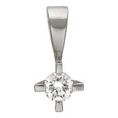 Кулон с бриллиантом, белое золото 750 проба