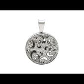 Кулон круглый ажурный с бриллиантами, белое золото 750 проба