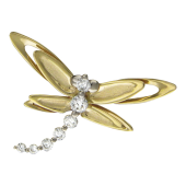 Кулон Стрекоза с бриллиантами на хвосте, комбинированное золото, 750 проба