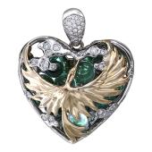 Кулон Свободное Сердце с птицей, бриллианты, зеленые фианиты, желтое и белое золото 750 пробы