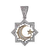Кулон Полумесяц со звездой и бриллиантами, желтое и белое золото 750 проба