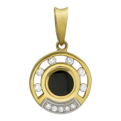 Кулон круглый с круглым ониксом и бриллиантами по кругу, комбинированное золото 750 проба