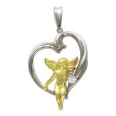 Кулон Сердце с Ангелочком с бриллиантом, белое и желтое золото, 750 пробы