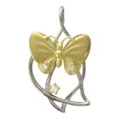 Кулон Бабочка на Листочках с бриллиантами, белое и желтое золото, 750 пробы