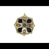 Кулон Черная Лилия с черным бриллиантом и эмалью, желтое и белое золото