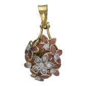Кулон Цветы с розовой эмалью и бриллиантами, желтое и белое золото 750 проба