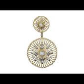 Кулон с двумя окружностями с бриллиантами, комбинированное золото 750 пробы