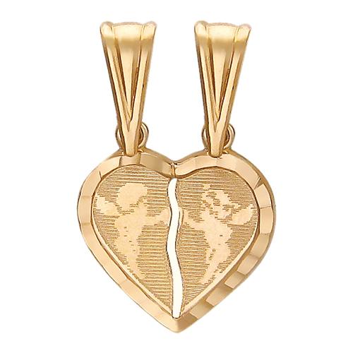 Золотой двойной кулон Сердце с ангелочками, красное золото
