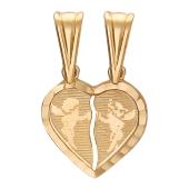 """Золотой двойной кулон """"Сердце"""" с ангелочками"""