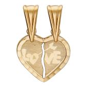 Кулон Сердце friend forever (друзья навсегда) с надписью Love, красное золото 585 проба