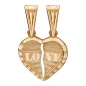 Кулон двойной для влюбленных Сердце с надписью Love, красное золото 585 проба
