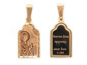 Анна Святая Пророчица в окладе с куполом и алмазной обработкой, красное золото, высота 18 мм