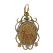 Владимирская в овальном резном окладе с огранкой, красное золото, высота 22 мм