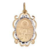 Матрона Московская в ажурном окладе с родированием и алмазной обработкой, красное золото, высота 22 мм