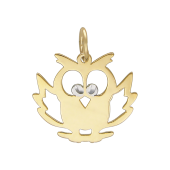Кулон Сова из желтого золота с алмазными гранями