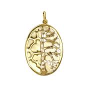 Подвеска овальная Дерево с алмазными гранями из желтого золота 585 пробы