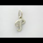 Кулон буква Р с алмазными гранями, серебро