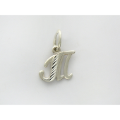 Кулон буква Т с алмазными гранями, серебро