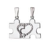 Кулон двойной Сердце Пазл, две половинки, серебро с алмазными гранями