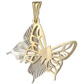 Кулон Бабочки с алмазными гранями, белое и желтое золото 585 проба