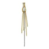 Кулон Волна с цепочками, желтое и белое золото