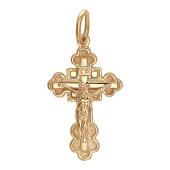 Православный крест, сзади квадрат, красное золото, высота 27.2 см