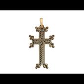 Крест армянский без распятия с орнаментом и эмалью, красное золото