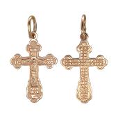 Крест православный с молитвой, красное золото