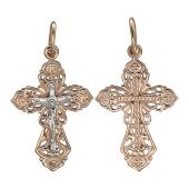 Крест православный ажурный, красное золото