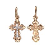 Крест православный с белым распятием, красное золото