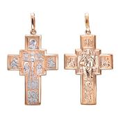 Крест православный прямоугольный со святыми, красное золото