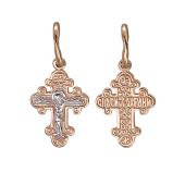 Крест православный крестильный, красное золото