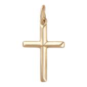 Крест без распятия с ребрами, красное золото 24 мм