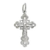 Православный крест, сзади квадрат, белое золото, высота 27.3 мм