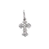 Крест православный крестильный, белое золото 13 мм