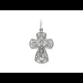 Крест православный узорный, белое золото 23 мм