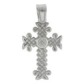 Крест армянский без распятия витой, белое золото