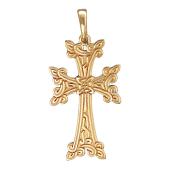 Крест армянский без распятия с орнаментом, желтое золото