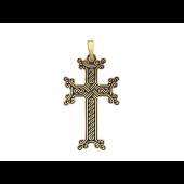Крест армянский без распятия с орнаментом и эмалью, желтое золото
