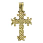 Крест армянский без распятия витой, желтое золото