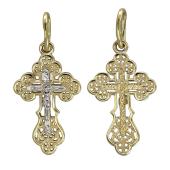 Крест православный ажурный из желтого золота