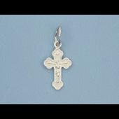 Крест православный с лепестками, серебро 14мм