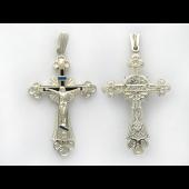 Крест православный ажурный с солнцем и эмалью, серебро