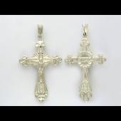 Крестик православный с лепестками из серебра
