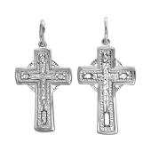 Крестик православный с молитвой из серебра