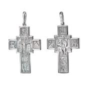 Крест православный прямой, Спас, из серебра