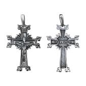 Крест православный Лучистый Венец из черного серебра