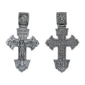 Крест православный с распятием и изображением Спаса, черненое серебро