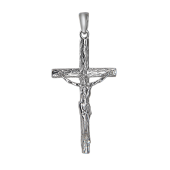 Крест православный с имитацией дерева, серебро