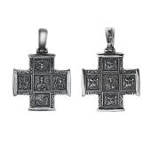 Крест православный Спас и Пантелеймон с квадратными частями, серебро
